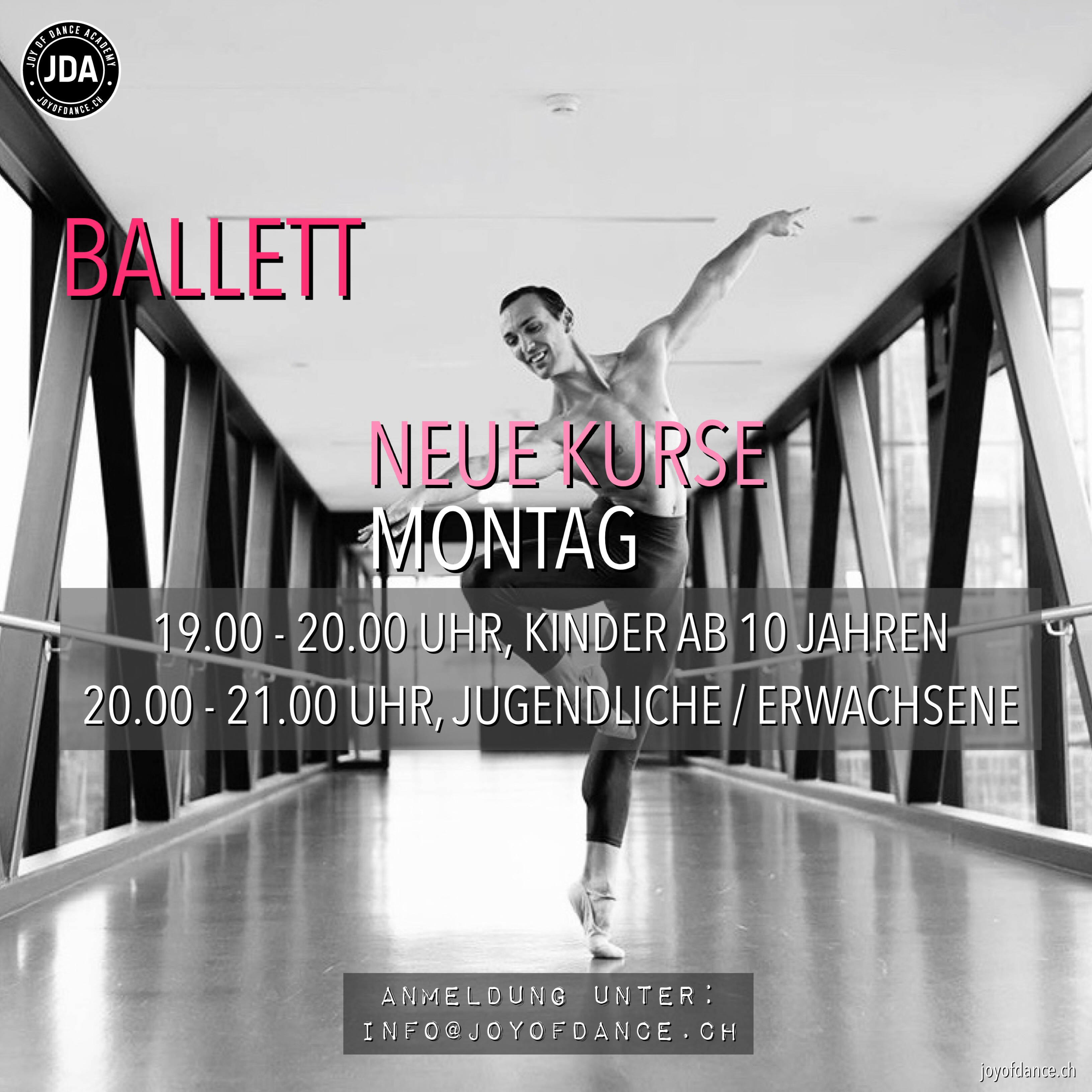 Banner Ballett new classes JDA joyofdance.ch